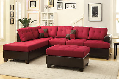 - Sofa Reversible Chaise Ottoman 3Pc Sectional Set Carmine Living Room Furniture