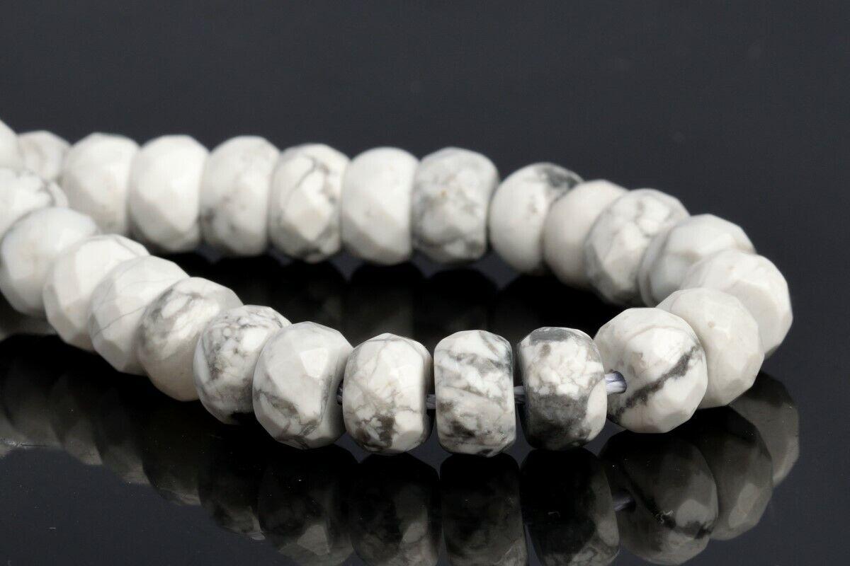 8x5MM Matte White Howlite Beads Grade AAA Genuine Natural Gemstone Full Strand Rondelle Loose Beads 15  7.5 Bulk Lot Options 103501