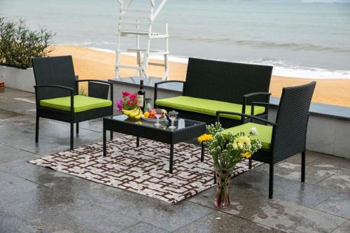 Garden Furniture - 4 PC Rattan Patio Furniture Set Garden Lawn Sofa Cushioned Seat Mix Wicker