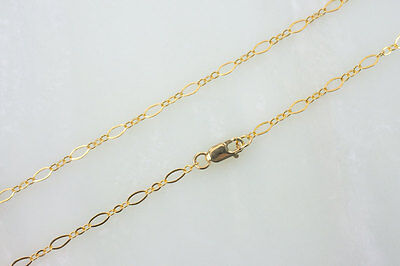14k Gold Fill Necklace - 18 Inch 14k Gold Filled Long and Short Oval Chain Necklace