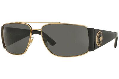 Authentic Versace VE2163 - 100287 Sunglasses Gold w/ Grey *NEW* 63mm