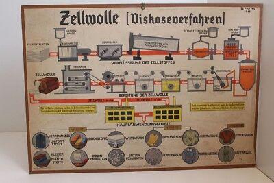 Old Schulwandtafel Wall Chart Rayon Viskoseverfahren Clothing Culture Publisher