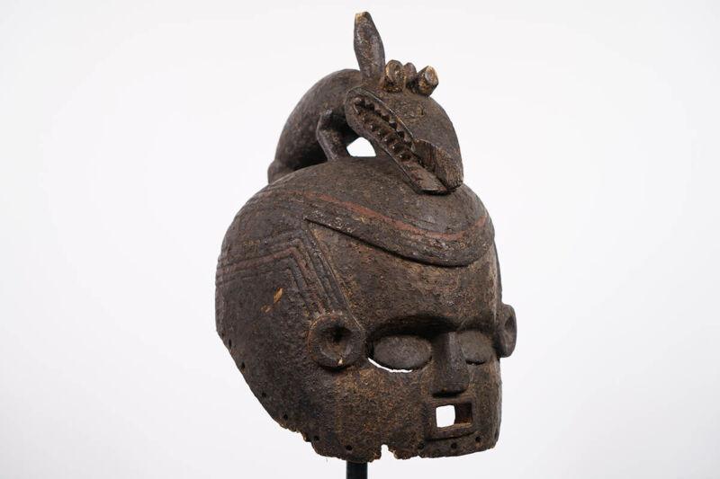 "Timeworn Suku Helmet Mask 15"" - DR Congo - African Art"