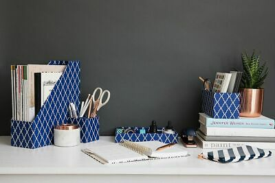 Blu Monaco 4 Piece Blue Desk Organizer Set