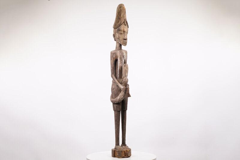 "Yoruba Statue with Snake 51"" - Nigeria - African Art"
