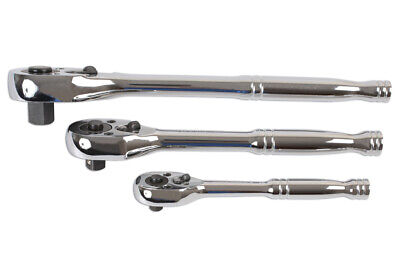 New Laser Tools Set 3 Reversible With Quick Release RATCHETS 1/4 3/8 1/2 Drive