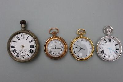 4 Defekte Taschenuhren  Handaufzug und Quarz  Durchmesser 43-60 mm