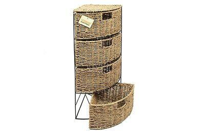 4 Drawer Seagrass Storage Bathroom Bedroom Tidy Basket Unit - 65(H)x25(D)cm