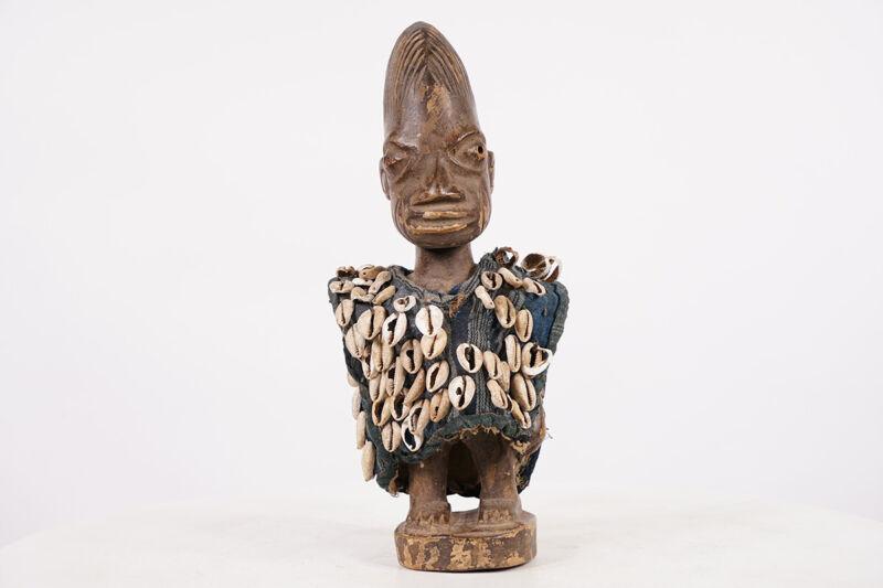 """Yoruba Ibeji Figure with Tunic 13"""" - Nigeria - African Art"""