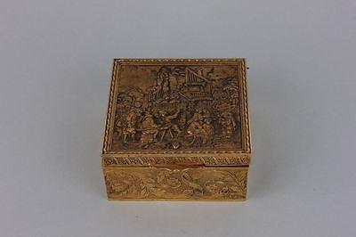Dekoratives vergoldete Kästchen mit Zechgelage im Stil des 17.Jahrhunderts