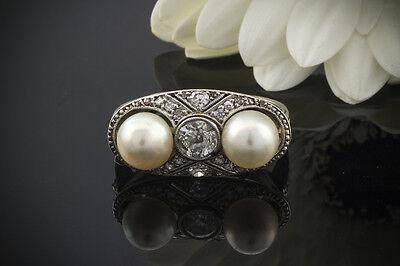 Schmuck Antiker Ring mit 2 Perlen & Diamanten in 585er Weißgold 14 Karat Gold (Antike Perle Ring)