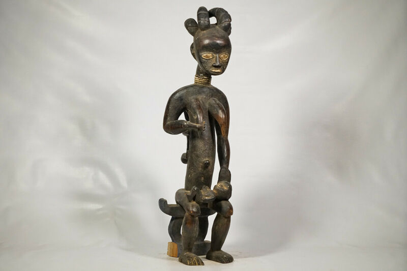 "Female Maternity Attie Statue 30.5"" - Ivory Coast - African Art"
