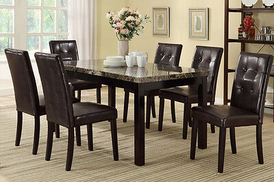 Button Tufted Back Cover Dining Room 7 Pc Dining Set Table Chair Brown Furniture Dining Room Set Furniture Cover