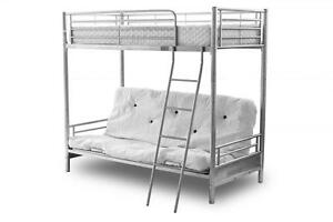 Alaska Silver Metal Frame Futon Triple Sleeper Bunk Bed with Sofa Bed at Bottom
