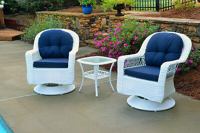 Tortuga Outdoor 3 Piece Resin Wicker Biloxi Bistro Set - White (3 Piece Resin Wicker)