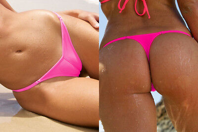 SEXY L - XL SIZED NEON PINK THONG CAMELTOE FRONT THONGS TANGAS BOTTOM KNICKER
