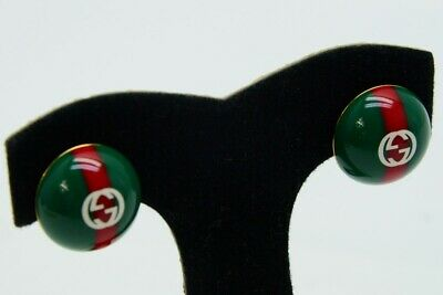 GUCCI Green & Red Web Logo Earrings Stud Enamel Vintage (NJL018678)
