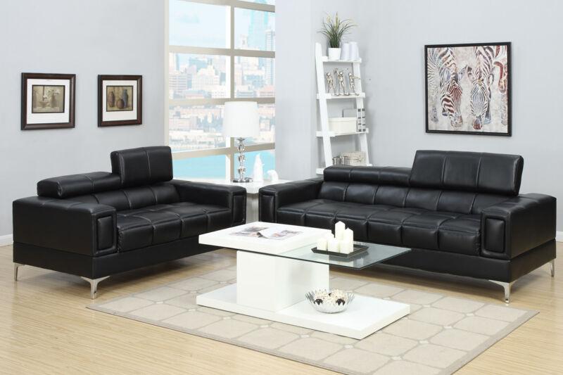 Black Bonded Leather 2 Pc Sofa Loveseat Adjustable Headrests Living Room Set