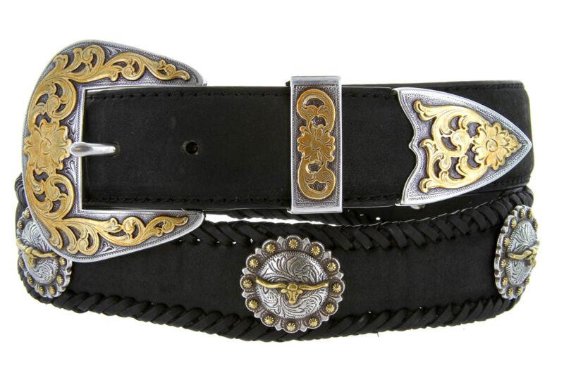 Laredo Longhorn Steer Berry Concho Western Genuine Leather Cowboy Belt