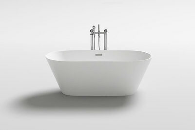 "1001NOW 60"" Lugano Unique Matte White Acrylic Freestanding Soaking Bathtub"