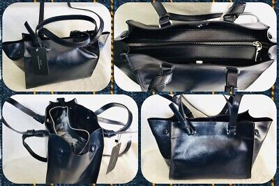 Zara Shiny Dark Blue Double Handles and Long Knotted Strap NWT Retails $49.90