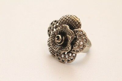 Beautiful Ring Rose Blossom Silver Adjustable Original Vintage 1970er Poppig