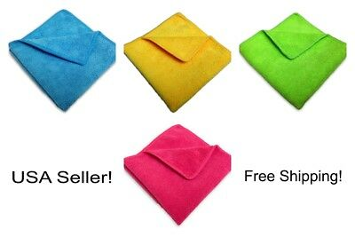 "96 Microfiber 14""x14"" Cleaning/Auto Detailing Cloths Towels MIXED COLORS 300GSM"