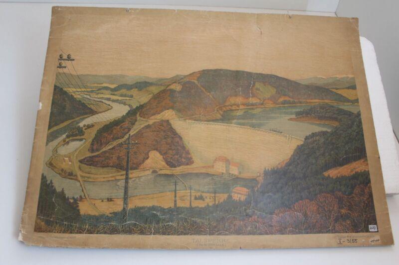 Old Schulwandtafel Wall Chart Reservoir IN Bobertale Wachsmuth Leipzig