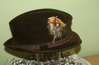 Vintage Mens Triumph by Champ Feather Fedora Felt/Velour Hat 6 7/8""