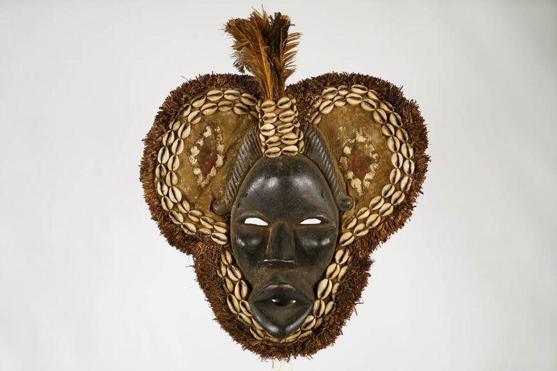 """Embellished Zoomorphic Dan Mask 12"""" - Ivory Coast - African Art"""
