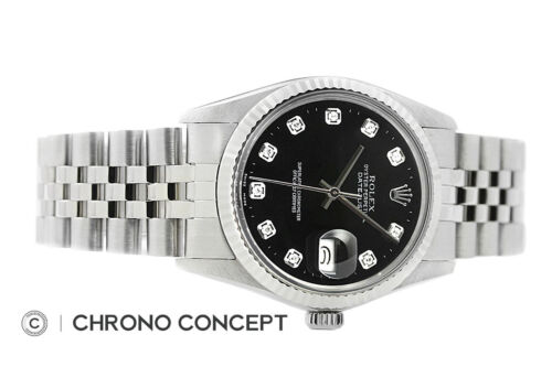 Rolex Mens Datejust Black Diamond Oyster Perpetual 18K White Gold & Steel Watch