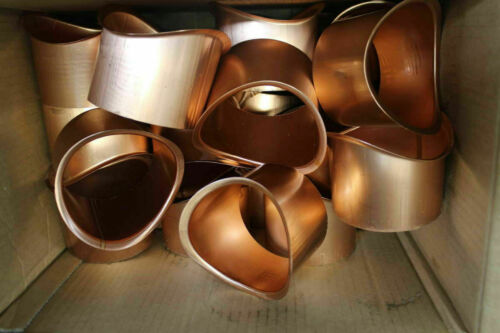 "Lot Of 25 Zambelli 4"" Round Copper Downspouts Drop Outlets for Half Round Gutter"