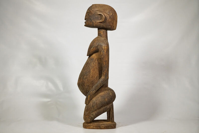 "Dogon Female Kneeling Statue 29"" - Mali - African Art"