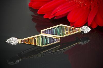 Schmuck Brosche Nadel verspielt Farbedelstein mit Brillanten in 750er Gelbgold