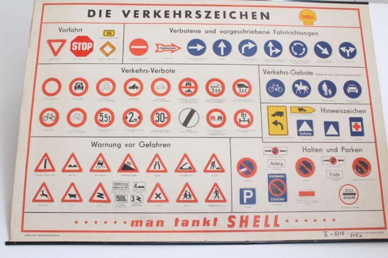 Old Schulwandtafel Wall Chart Die Traffic Sign Shell Wofe Braunschweig Hambur