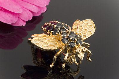 Schmuck Brosche / Nadel Motiv Fliege mit Saphiren in 585er Gelbgold Anstecknadel