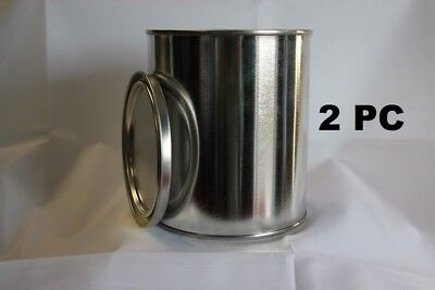 2PC  PINT EMPTY METAL PAINT CANS WITH LIDS