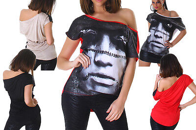 Sexy Tunika Tops (SEXY Damen Shirt Bluse Tunika Longshirt T-Shirt TOP Face Gesicht Muster Oberteil)