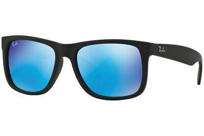 Ray-ban Sonnenbrille Justin Farbe Mix RB4165 622/55 Schwarz Blau Spiegel Neu