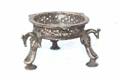 Small Carved Bowl Stand Old Vintage Antique Indian Brass Collectible PB-75