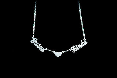 Sterling Silver Couples Name Heart Pendant (Personalized Sterling Silver Couple Name Plate Necklace - Linked w/ Heart)