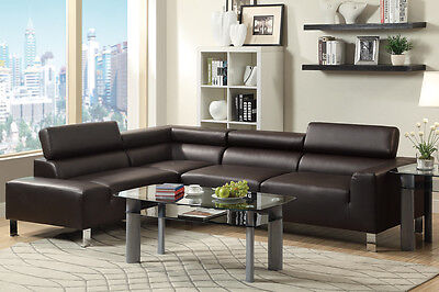 Modern Espresso Dark Brown Bonded Leather Sectional Couch Sofa