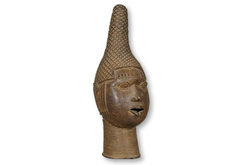 "Attractive African Benin Bronze Head 18"" - Nigeria"