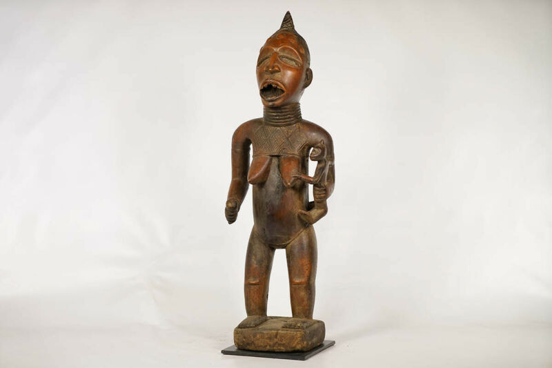 """Female Bakongo Figure with Child 30"""" - DRC - African Art"""