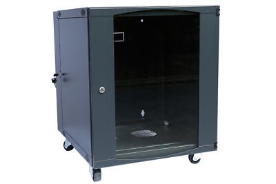 Rising 12U Wall Mount Network Server Cabinet Rack Enclosure Glass Door Lock