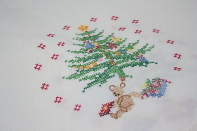 Vintage Christmas Tablecloth Counted Cross Stitch Christmas Trees Crocheted