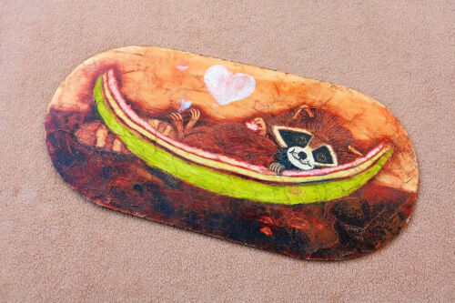 Racoon Cute Painting Canoe or hammock On Wooden Panel gift cottage rustic LA