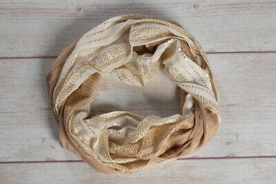 Metallic gold sequin infinity scarf women