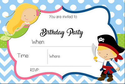 Pirate and Mermaid Birthday Party Invites MP4