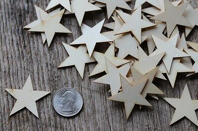 50 qty Small 1-1/2  inch Star Wood 1.5 Crafts Wooden Flag Making Decor DIY - Wooden Star